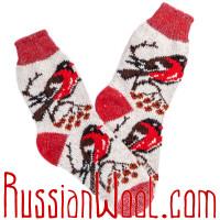 Носки Снегири на Рябине шерстяные красно-дымчатые