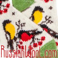 Носки Снегири-Синички шерстяные зелено-белые