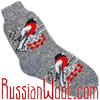 Носки Снегири на Рябине шерстяные пепельно-серые