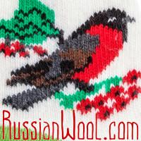 Носки Снегири на Рябине шерстяные салатово-белые