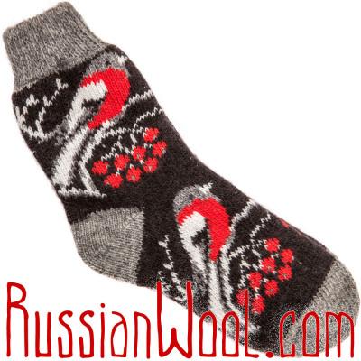 Носки Снегири шерстяные чёрные