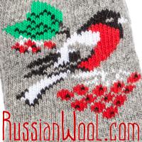 Женские носки со снегирями, серые