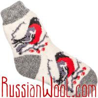 Носки Снегири шерстяные белые с серой пяткой