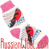 Женские носки со снегирями, розово-белые