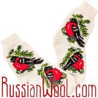 Носки Снегири на Ёлке шерстяные белые