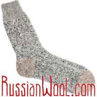 Носки универсальные шерстяные бежево-серые