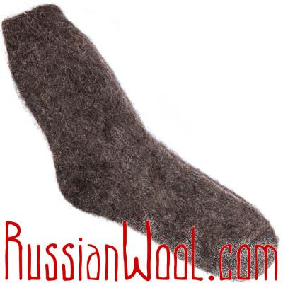 Носки универсальные шерстяные темно-коричневые