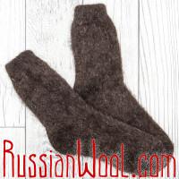 Носки шерстяные универсальные темно-коричневые