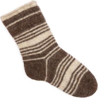 Носки Домашние чистошерстяные серые полосатые