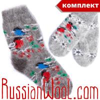 Комплект Снегири Пух: серые носки и варежки из козьего пуха