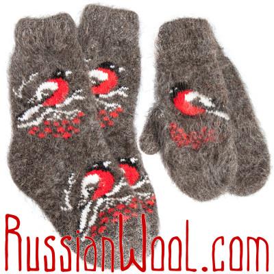 Комплект Снегири Пух: черные пуховые носки и варежки