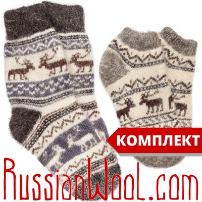 Комплект Эскимосский: женские пуховые носки и следки