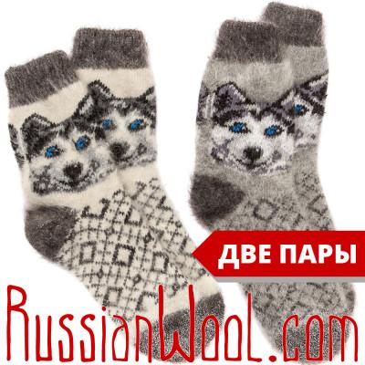Комплект Хаски Пух: женские козьи носки из белого и серого пуха