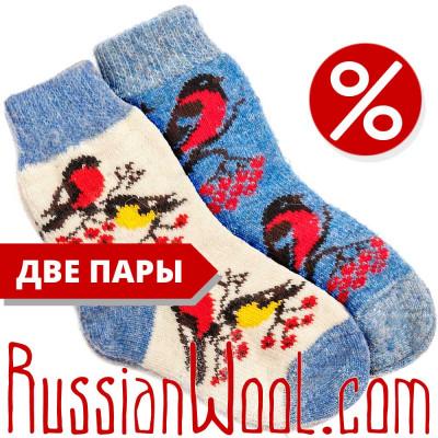 Комплект: шерстяные носки, две пары, снегири и синички