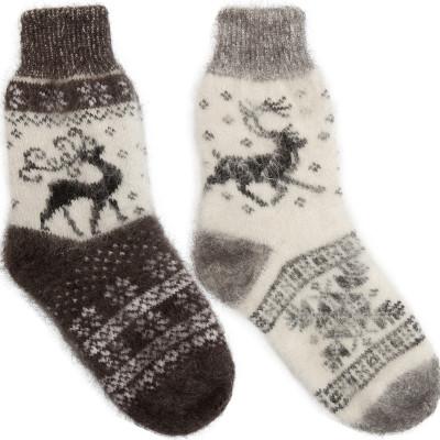 Комплект Олени Бег: две пары женских пуховых носков