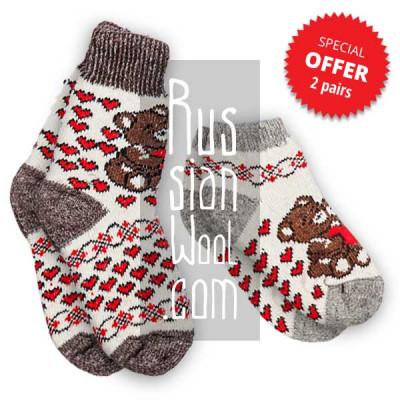 Шерстяные носки и полуноски с мишками Тедди, комплект