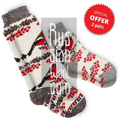 Women's wool socks with bullfinches, a set of medium and long socks, size M