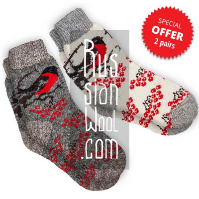 Women's wool socks with bullfinches, a set of two pairs, size M