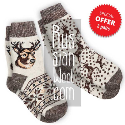 Men's wool socks with deer, a set of 2 pairs, size L