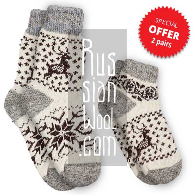 Women's wool socks with deer, a set of short and medium socks, size M