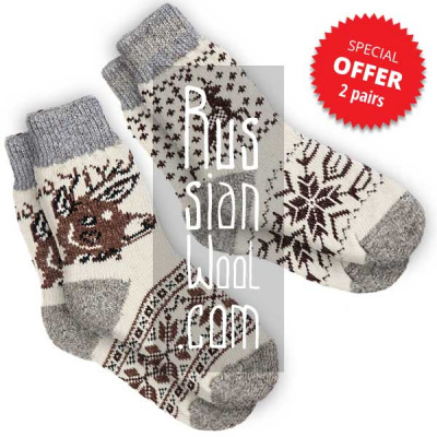 Women's wool socks with deer, a set of 2 pairs, size M