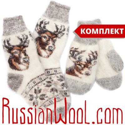 Комплект Олени: женские пуховые носки и варежки, белые