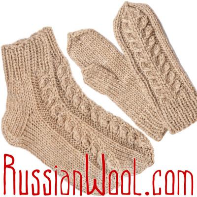 Носки и варежки с узорами, верблюжья шерсть, комплект размер S