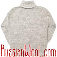 Свитер Ангора M шерстяной серебристо-серый с воротником-стойкой