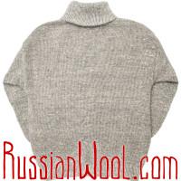 Свитер Ангора 3XL шерстяной серый, олени пешком