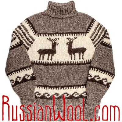 Свитер Балкарский XL натуральный серый с оленями