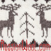 Свитер Балкарский 3XL белый с серыми оленями, на рост выше среднего