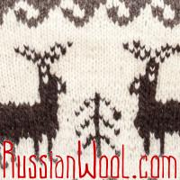 Свитер Балкарский XL с оленями, с высоким горлом на пуговицах