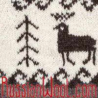 Свитер Балкарский XL шерстяной с оленем и елкой крупной вязки