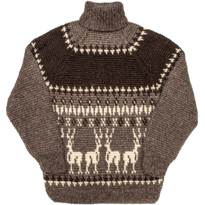 Свитер Деревенский XL шерстяной темный с белыми оленями, для высоких
