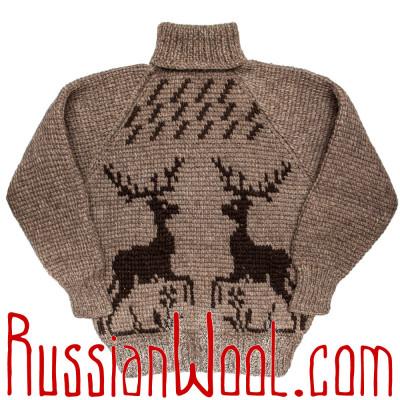 Свитер Деревенский XL натуральный с оленем