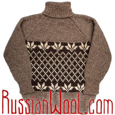 Свитер Деревенский 4XL крупной вязки, кофейно-серый