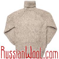 Cвитер Деревенский 3XL из натуральной шерсти песочного цвета