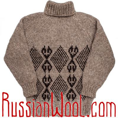 Свитер Деревенский XL/2XL для охоты и рыбалки, серый с ромбиками, шерстяной