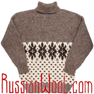 Свитер Деревенский XXL Снежинки из грубой шерсти