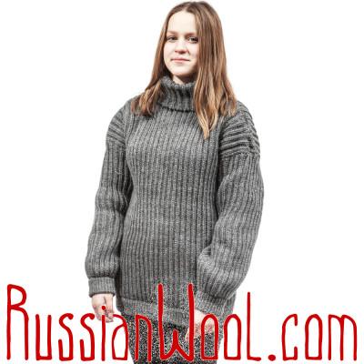 Свитер крупной вязки, серый