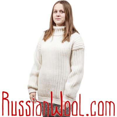 Свитер крупной вязки, белый, на заказ