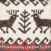 Свитер Балкарский с оленями, шерстяной, ручной вязки