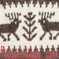 Свитер Балкарский M с оленями и ромбиками, с капюшоном, ручная вязка