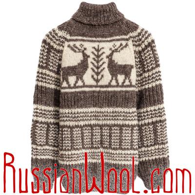 Свитер Балкарский бело-серый с оленями, ручной вязки, 100% шерсть