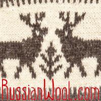 Свитер Балкарский M с оленями и зигзагами, с капюшоном, 100% шерсть
