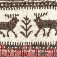 Свитер Балкарский-Худи L с оленями, с капюшоном, 100% шерсть