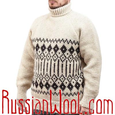 Белый чистошерстяной свитер крупной вязки