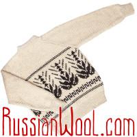 Белый мужской свитер с растительным орнаментом