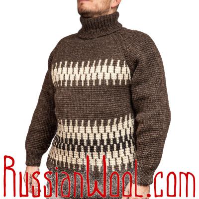 Шоколадный свитер с белым зигзагом